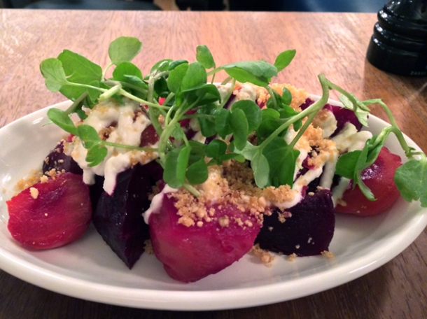 beetroot with horseradish and hazelnuts at foxlow