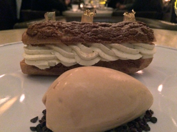 calvados and apple eclair with salted caramel ice cream at berners tavern