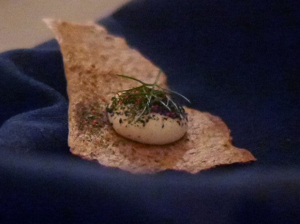 cod cream on a cracker consumed at the clove club
