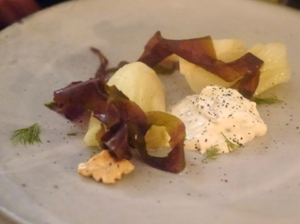 fennel, seaweed, walnuts and creme fraiche at the clove club