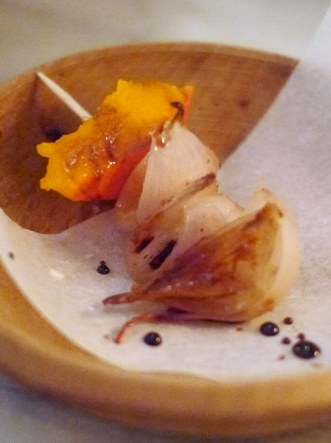 pumpkin and onion skewer at the clove club