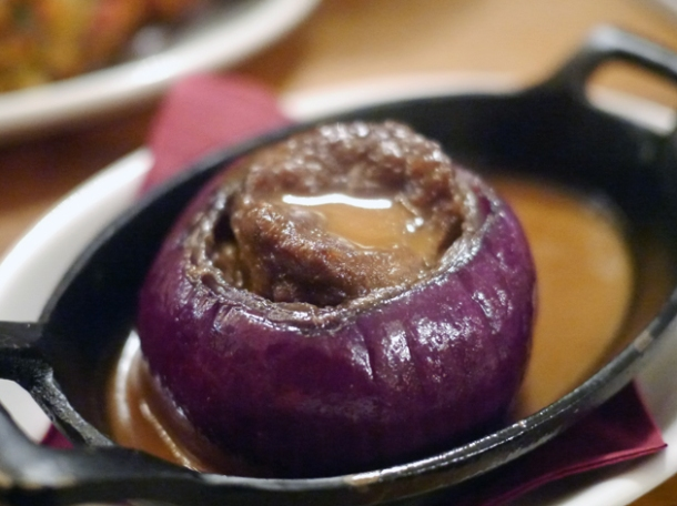 sausage stuffed onion at foxlow