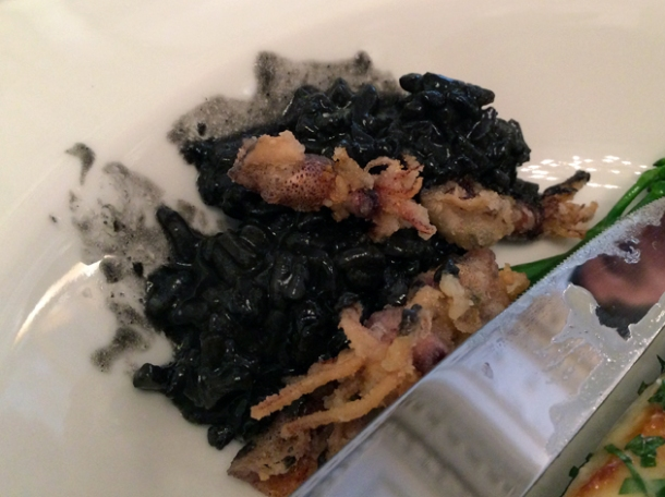 squid and squid ink risotto at berners tavern