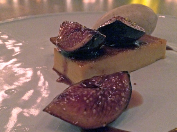 sweet potato creme brulee with figs at berners tavern