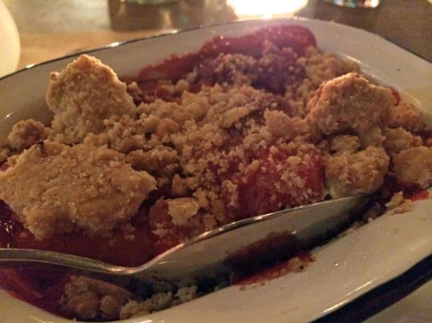 apple and blackcurrant crumble at ape and bird