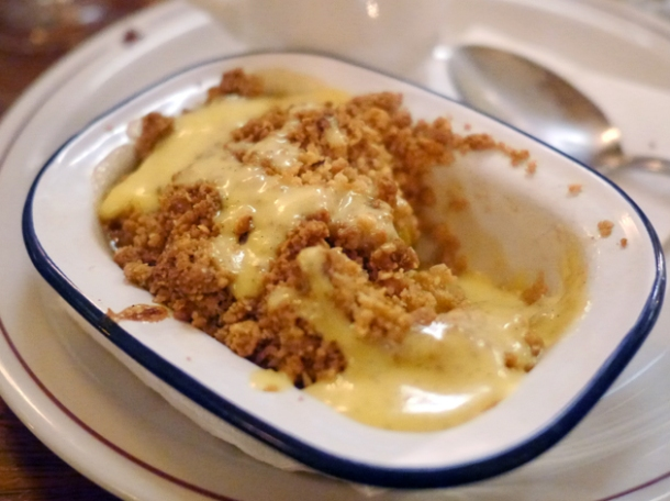 apple crumble with custard at the ape and bird
