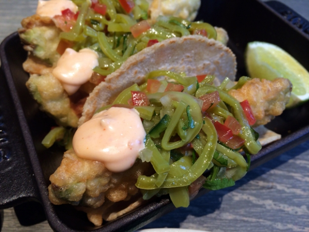 avocado tempura tacos at peyote