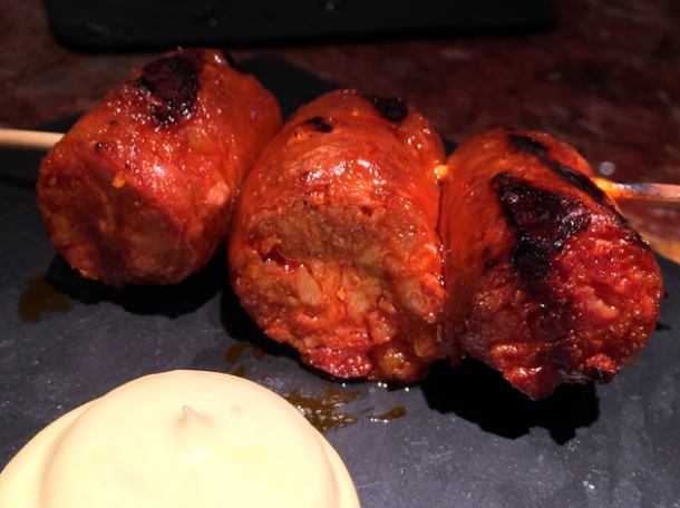 chorizo skewer at ember yard