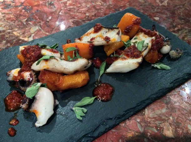 cuttlefish, pumpkin and nduja at ember yard