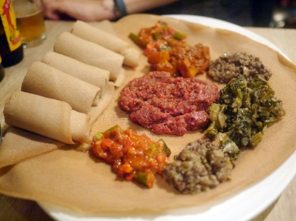 injera with food at lalibela