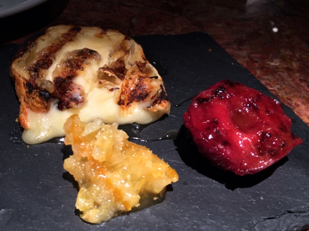 mahon cheese with honey and stewed plum at ember yard