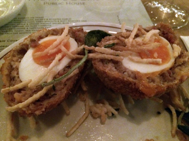 pig trotter scotch egg at ape and bird