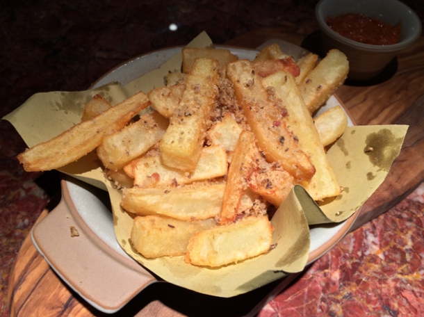 pork fat chips with chorizo ketchup at ember yard