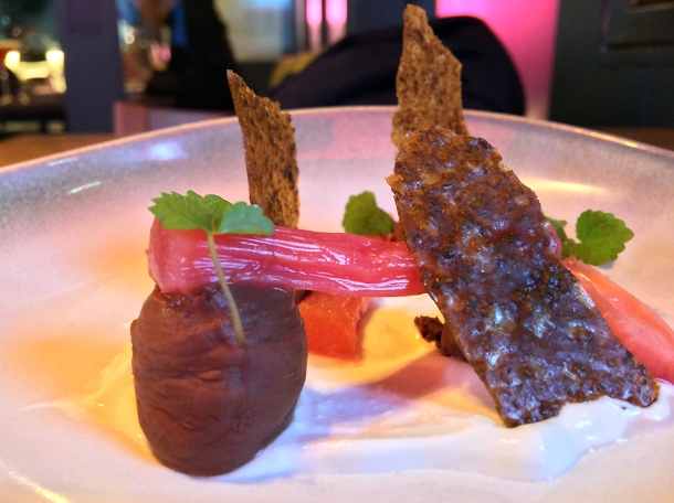 illustrative photo of the rhubarb with chocolate mousse at Ember Yard