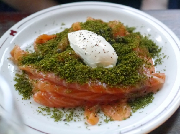 smoked salmon with dill crumbs and creme fraiche at the ape and bird