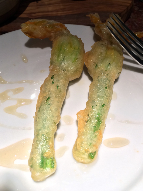 stuffed courgette flowers at ember yard