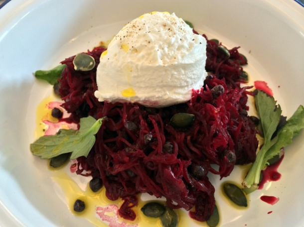 goat's cheese with beetroot and pumpkin seeds at boopshi's