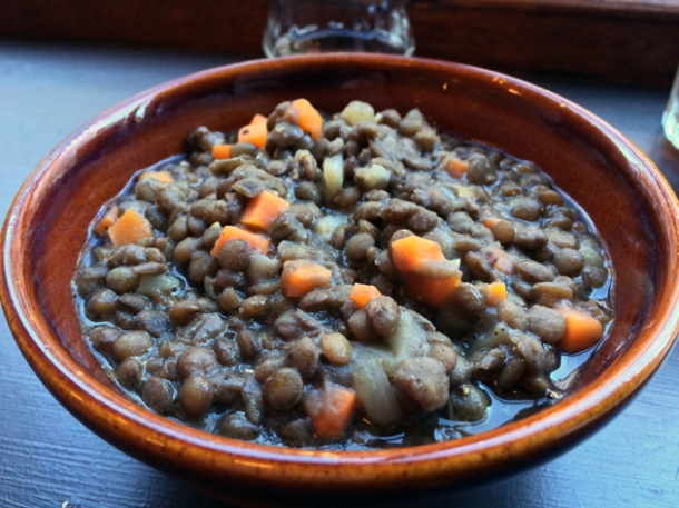 lentils braised in red wine at blackfoot