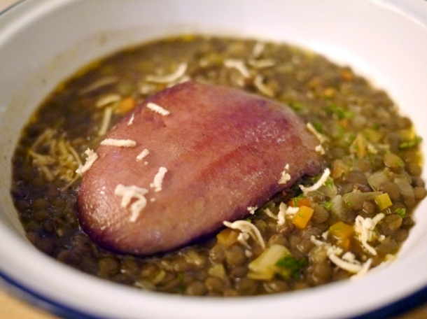 ox tongue with lentils at boopshi's