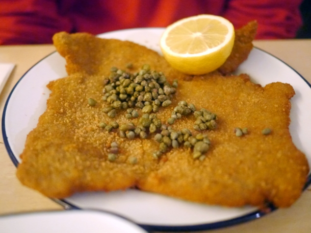 pork schnitzel topped with capers at boopshi's