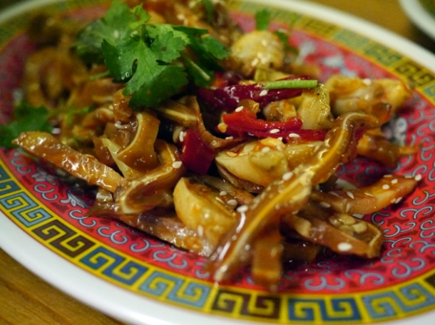 whelks and pig's ears in chilli oil at my old place