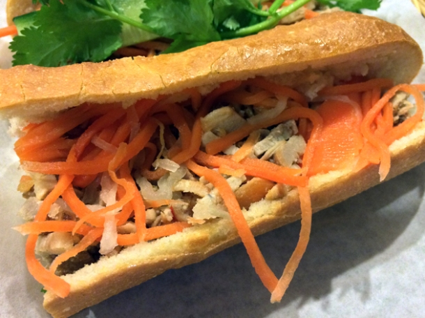 caramelised shredded pork banh mi at viet cafe