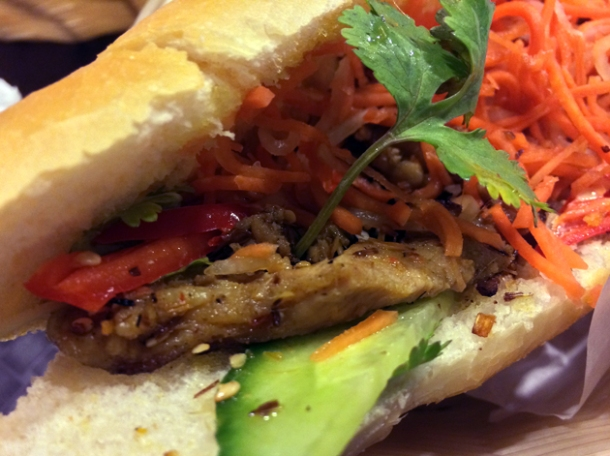 chargrilled lemongrass and sesame pork baguette at aobaba elephant and castle