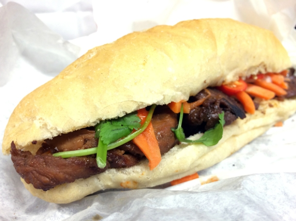 chargrilled pork banh mi at city caphe