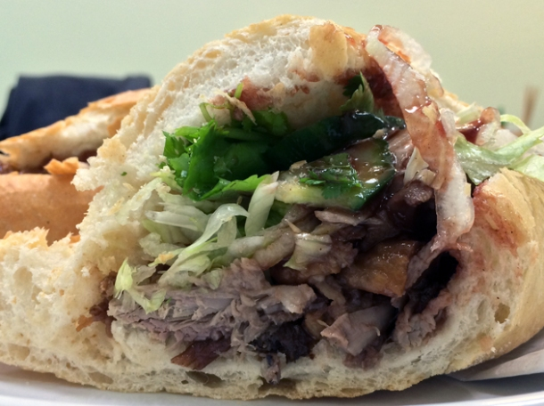 close up of duck banh mi at bun cha