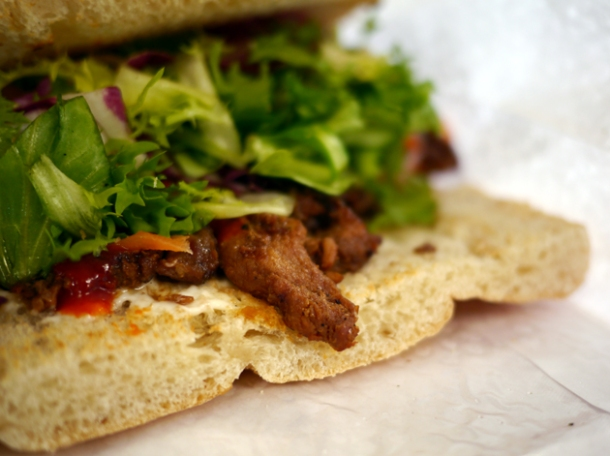 close up of honey garlic pork sandwich from walk thru