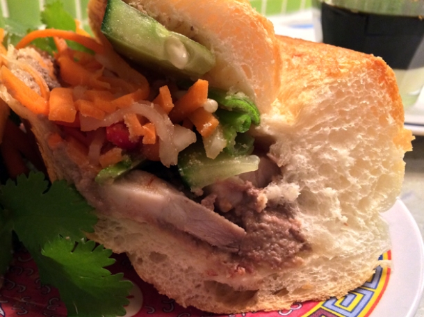 close up of pork banh mi at miss chu