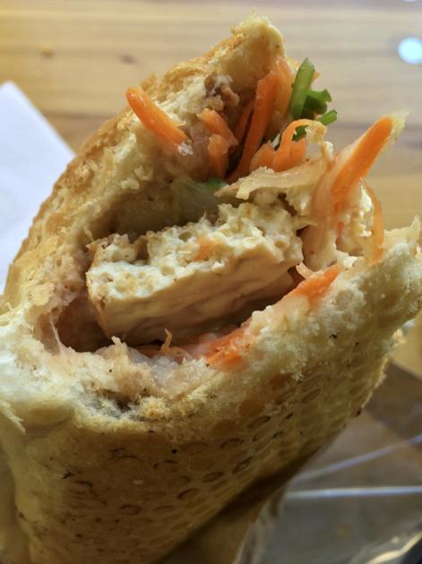 close up of tofu baguette at banh mi hoi an