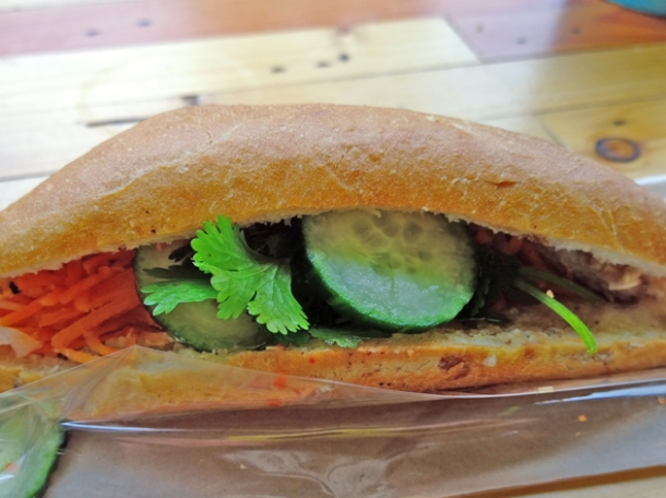 crackling pork belly baguette at banh mi 11 shoreditch