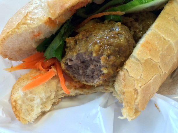curry meatball baguette at banh mi hoi an