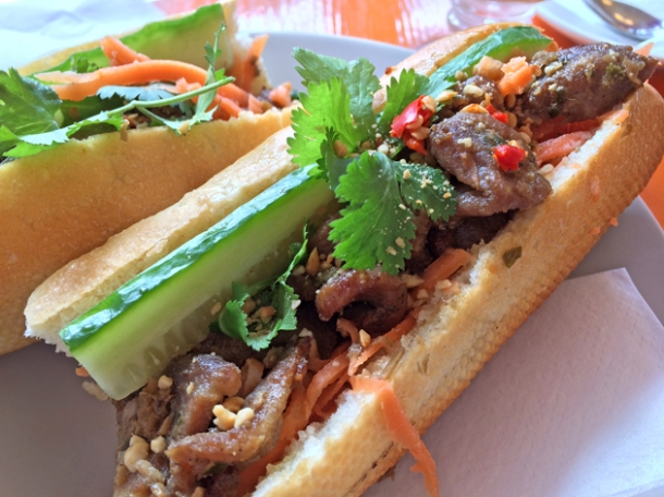 grilled pork belly baguette at panda panda