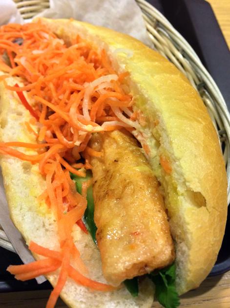 grilled shrimp banh mi at aobaba elephant and castle