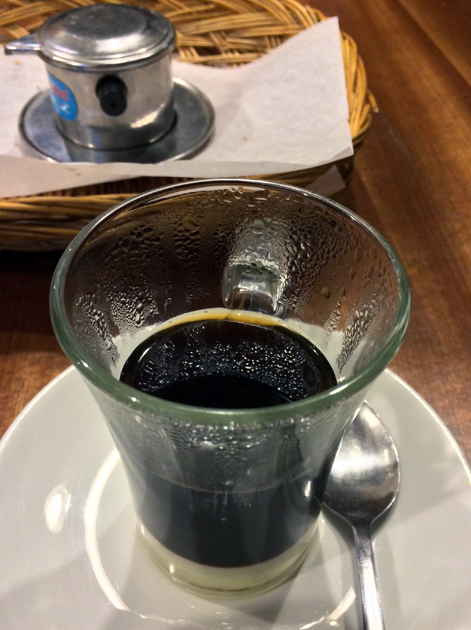 hot vietnamese drip coffee at viet cafe
