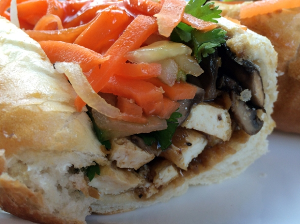 mushroom and tofu vietnamese baguette from la du du