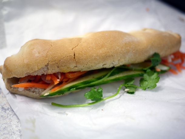 shredded caramel pork baguette from banh mi bay