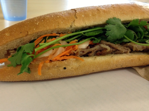 spiced pork baguette at banh mi bay