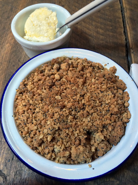 apple and cloudberry crumble with clotted cream at barnyard