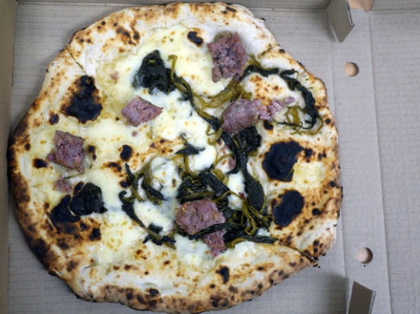 broccoli, mozzarella and gloucester old spot sausage pizza from franco manca tottenham court road