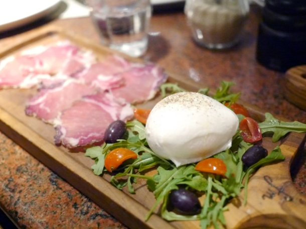 buffalo mozzarella and ham at franco manca tottenham court road