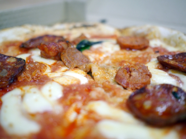close up of chorizo pizza from franco manca