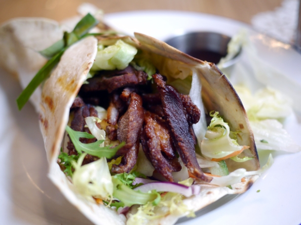 crispy duck wrap at rosa's cafe carnaby street