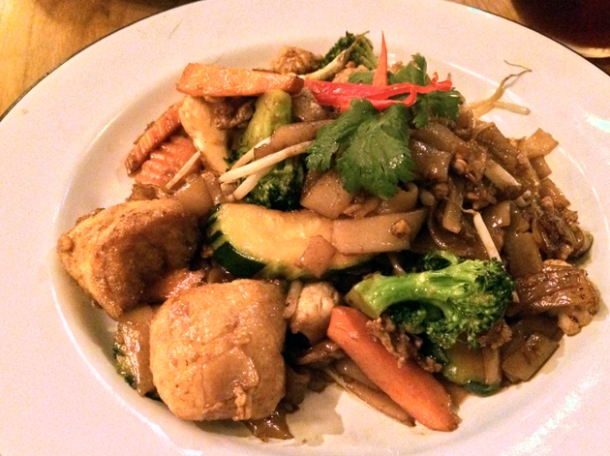 flat noodles with tofu and veg at rosa's cafe carnaby street