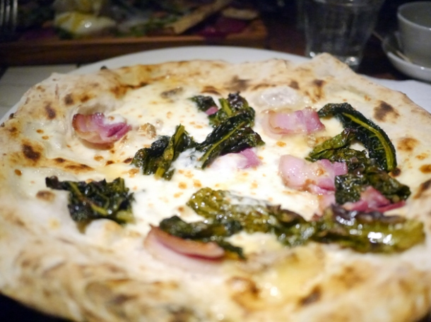 pancetta, stilton and cavolo nero pizza at franco manca tottenham court road