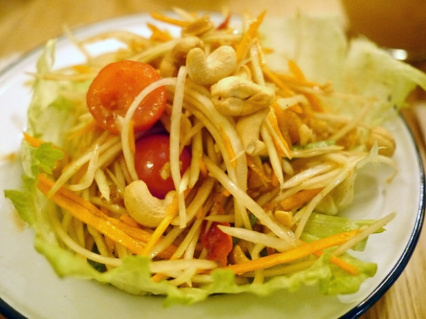 papaya salad at rosa's cafe carnaby street
