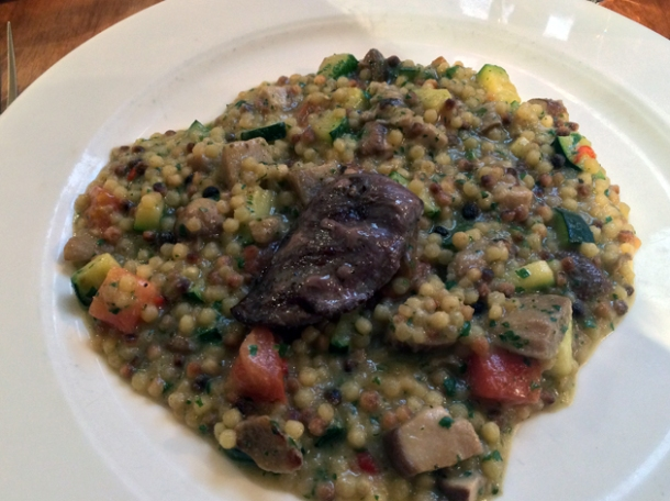 pigeon breast and fregola at sardo