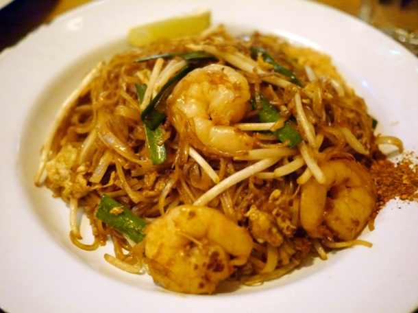 prawn pad thai at rosa's cafe carnaby street